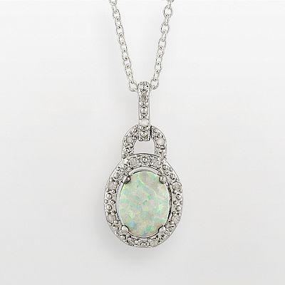 Sterling Silver Lab-Created Opal and Diamond Accent Frame Pendant