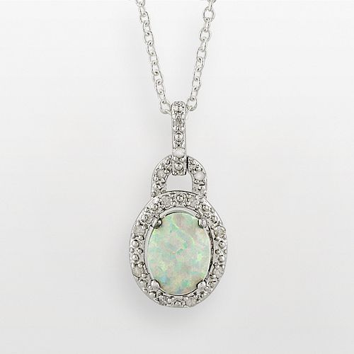 Sterling Silver Lab-Created Opal & Diamond Accent Frame Pendant
