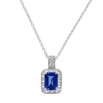 Sterling Silver Lab-Created Sapphire & Diamond Accent Rectangle Halo Pendant