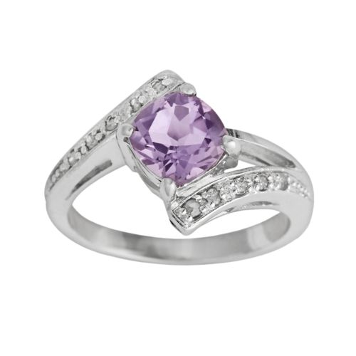 Sterling Silver Amethyst and Diamond Accent Bypass Ring