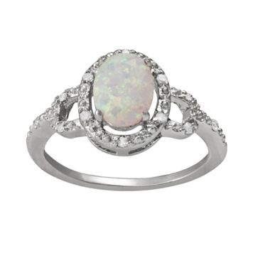 Sterling Silver Lab-Created Opal & Diamond Accent Oval Frame Ring