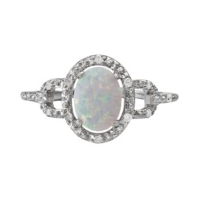 Sterling Silver Lab-Created Opal and Diamond Accent Oval Frame Ring