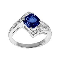 Sterling Silver Lab-Created Sapphire & Diamond Accent Bypass Ring