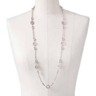 Croft and Barrow Silver Tone Bead Long Necklace