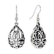 Croft and Barrow Silver Tone Filigree Teardrop Earrings