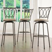 HomeVance 3 pc Scroll-Back Swivel Bar Stool Set