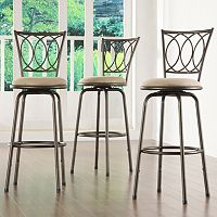 HomeVance 3-pc. Scroll-Back Swivel Bar Stool Set