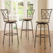 HomeVance 3-pc. Cross-Back Swivel Bar Stool Set