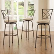 HomeVance 3 pc Cross-Back Swivel Bar Stool Set