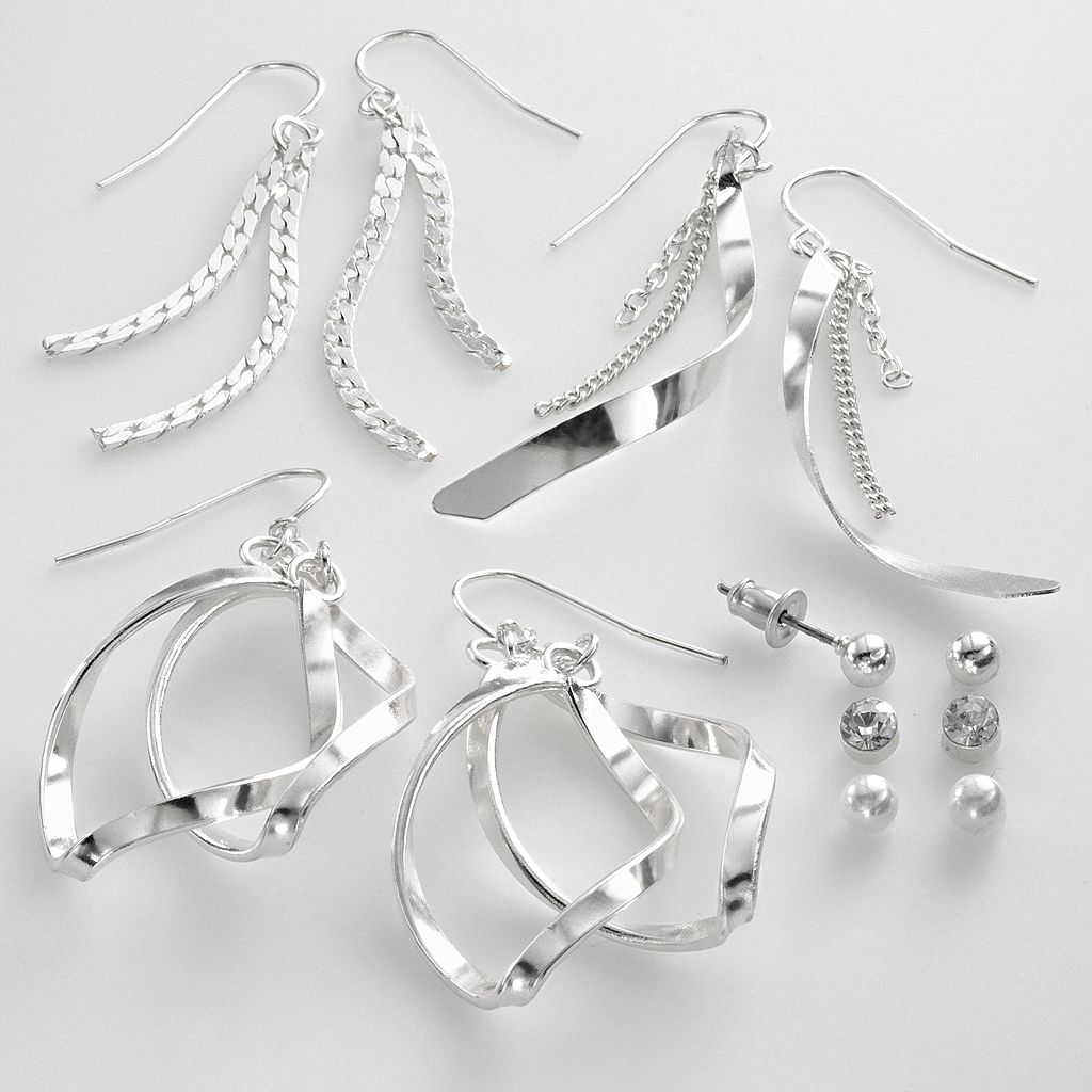 SO® Silver Tone Simulated Crystal & Simulated Pearl Ball Stud & Swirl Drop Earring Set