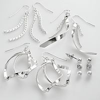Mudd® Silver Tone Simulated Crystal & Simulated Pearl Ball Stud & Swirl Drop Earring Set