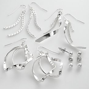 Mudd® Silver Tone Simulated Crystal & Simulated Pearl Ball Stud & Swirl Drop Earring Set