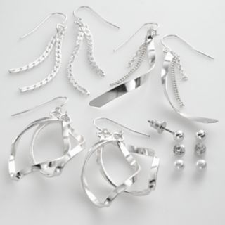 Mudd Silver Tone Simulated Crystal and Simulated Pearl Ball Stud and Swirl Drop Earring Set