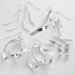SO Silver Tone Simulated Crystal and Simulated Pearl Ball Stud and Swirl Drop Earring Set