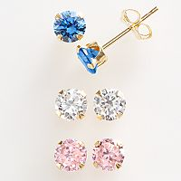 Renaissance Collection 10k Gold 1 1/2 ctT.W. Stud Earring Set - Made with Swarovski Zirconia