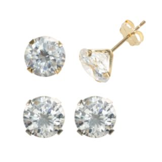 Renaissance Collection 10k Gold Two Tone 6-ct. T.W. Swarovski Cubic Zirconia Stud Earring Set - Made with Swarovski Zirconia