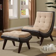 HomeVance Chair and Ottoman Set