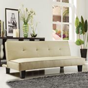HomeVance Creamy Manmade Leather Mini Futon