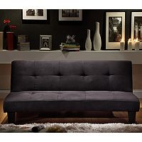 HomeVance Bento Black Microfiber Suede Mini Futon