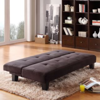 HomeVance Bento Black Microfiber Suede Mini Futon