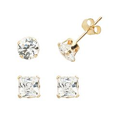 Renaissance Collection 10k Gold 2 ctT.W.  Stud Earring Set - Made with Swarovski Cubic Zirconia