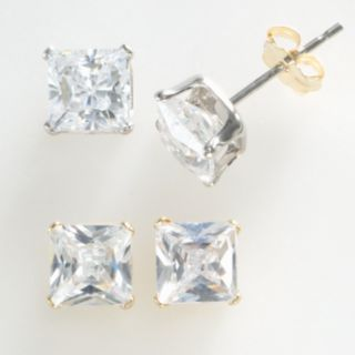 Renaissance Collection Two Tone 3-ct. T.W. Princess Earring Set - Made with Swarovski Zirconia