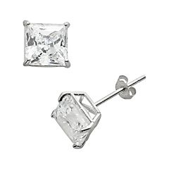 Renaissance Collection 10k White Gold 1 4/5 ctT.W. Cubic Zirconia Stud Earrings - Made with Swarovski Zirconia