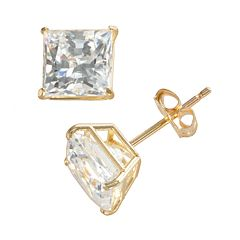 Renaissance Collection 10k Gold 1 4/5 ctT.W. Cubic Zirconia Princess Stud Earrings - Made with Swarovski Zirconia