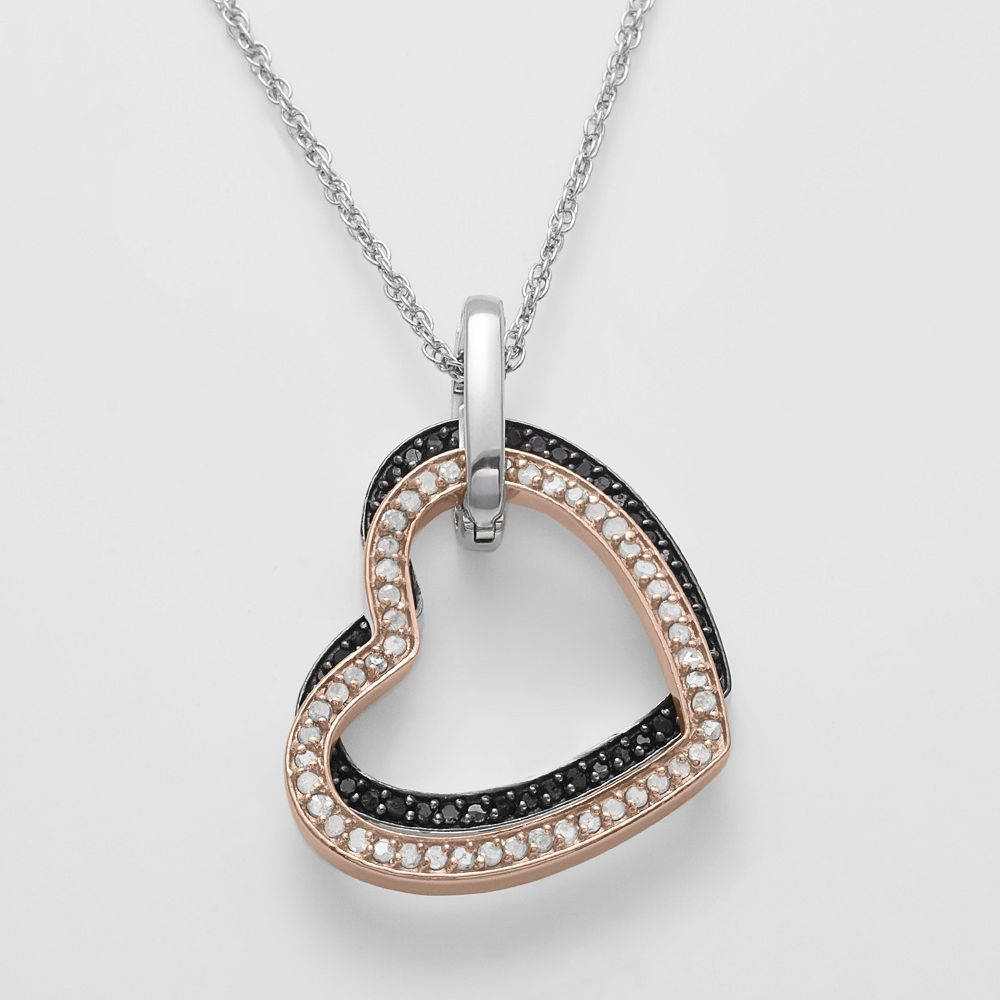 18k Gold Over Silver & Sterling Silver Four Tone 2-ct. T.W. Diamond Interchangeable Heart Pendant
