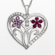 Sterling Silver Lab-Created White Sapphire, Amethyst and Rhodolite Garnet Flower Heart Pendant