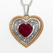 14k Rose Gold Over Silver and Sterling Silver Lab-Created Ruby and Diamond Accent Heart Pendant