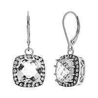 Sterling Silver & Black Rhodium Plate Sterling Silver Quartz & Cubic Zirconia Drop Earrings