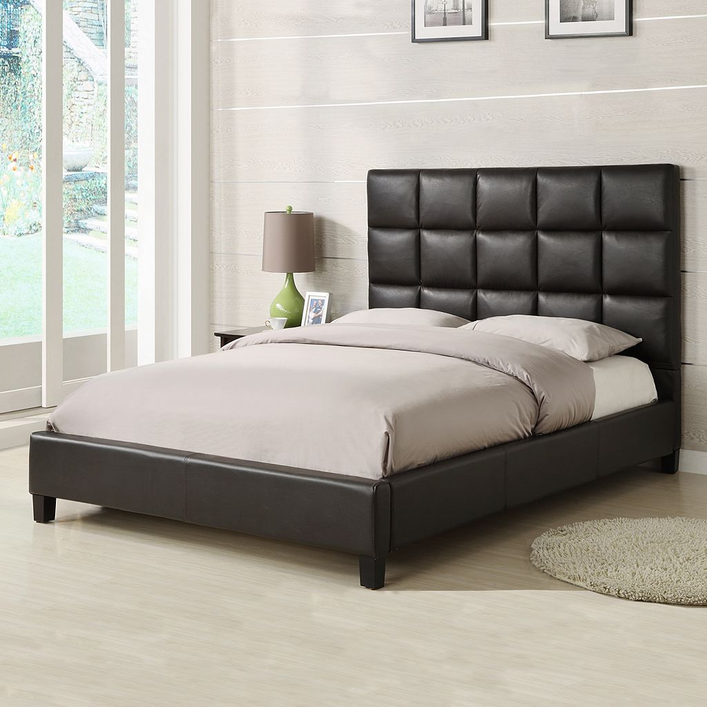 HomeVance Tufted Faux Leather Queen Bed