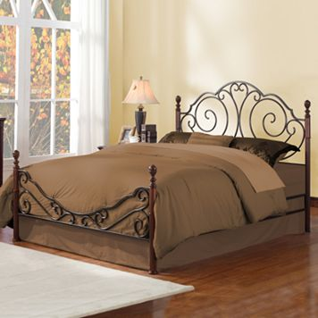 HomeVance Classic Metal Queen Poster Bed