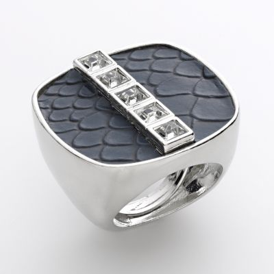 Apt. 9 Silver Tone Simulated Crystal Snakeskin Square Ring