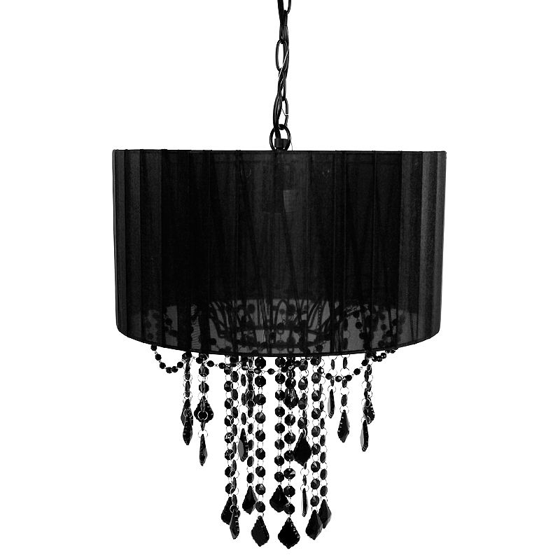 Tadpoles 1-Bulb Shaded Chandelier, Black