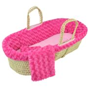 Tadpoles Twisted Micro-Fur Moses Basket Set