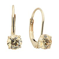 Renaissance Collection 10k Gold 1 ctT.W. Yellow Cubic Zirconia Drop Earrings - Made with Swarovski Zirconia