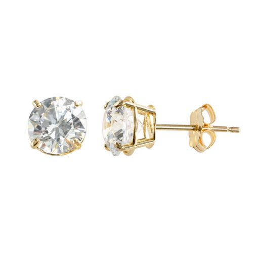 Renaissance Collection 10k Gold Cubic Zirconia Stud Earrings
