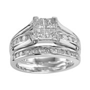 10k White Gold 1 1/2-ct. T.W. Princess-Cut Diamond Ring Set