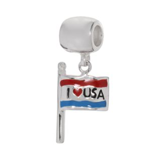 Individuality Beads Sterling Silver I Love USA Flag Charm