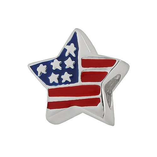 Individuality Beads Sterling Silver Star American Flag Bead