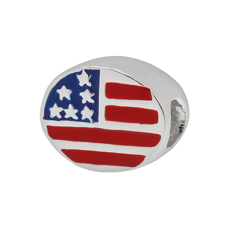 Individuality Beads Sterling Silver Oval American Flag Bead
