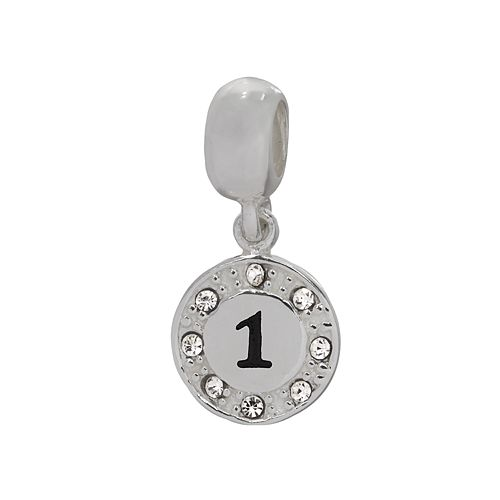 Individuality Beads Sterling Silver Crystal Number Charm