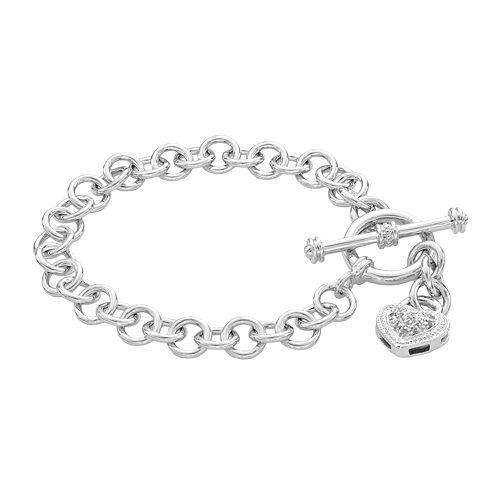Sterling Silver Diamond Accent Heart Charm Bracelet