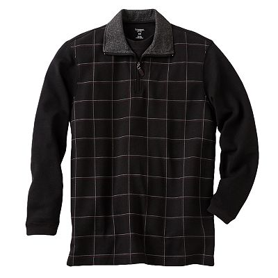 Haggar Work-to-Weekend Windowpane Mock-Layer 1/4-Zip Pullover - Big and Tall
