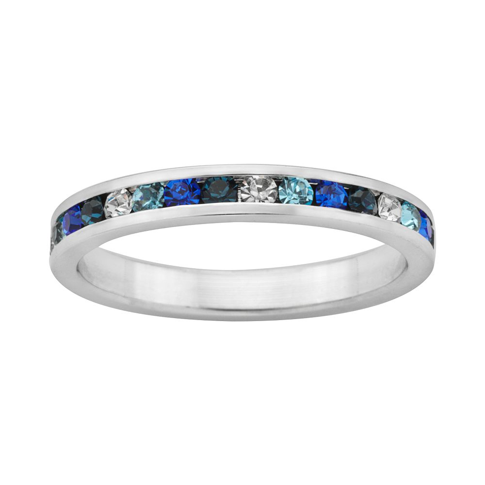 Sterling Silver Blue & White Crystal Eternity Ring