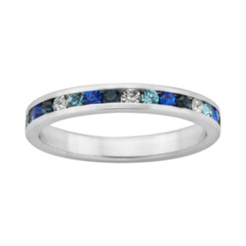 Sterling Silver Blue and White Crystal Eternity Ring