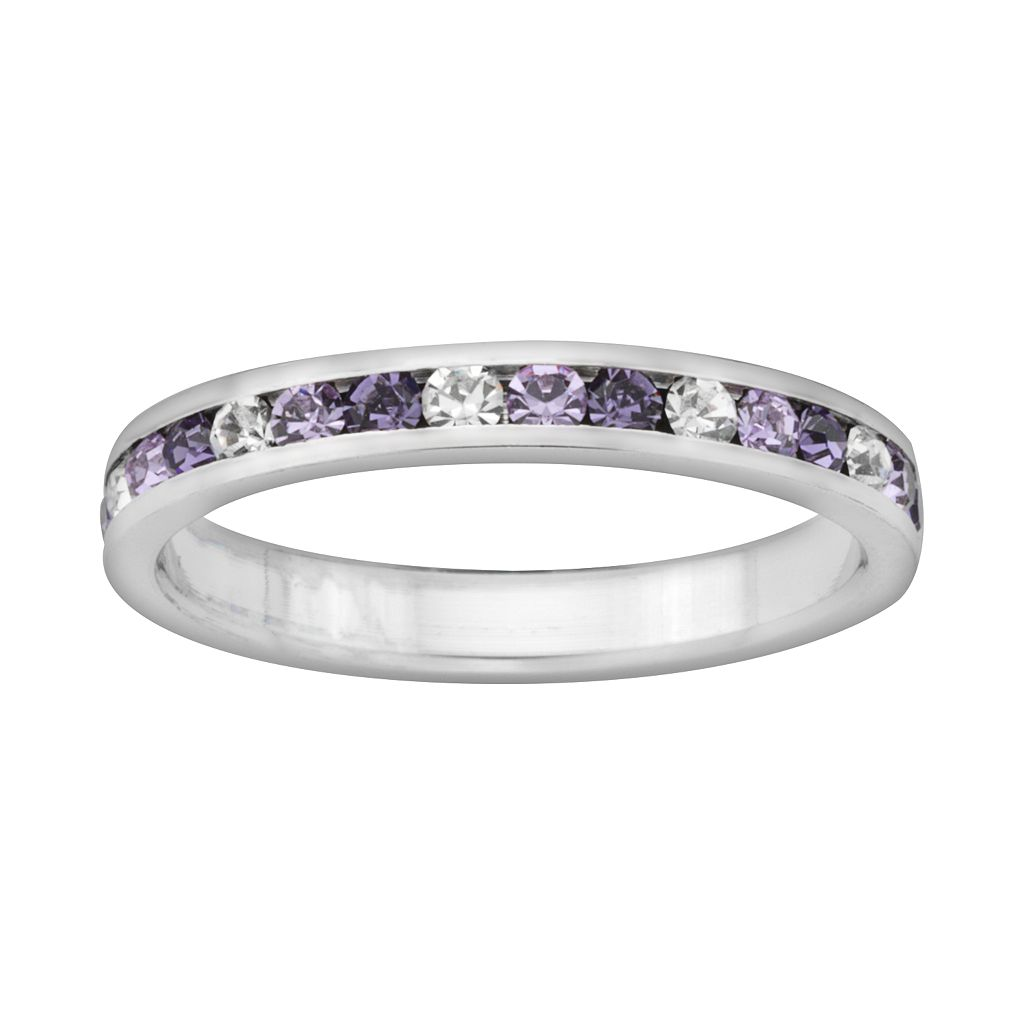 Sterling Silver Purple & White Crystal Eternity Ring