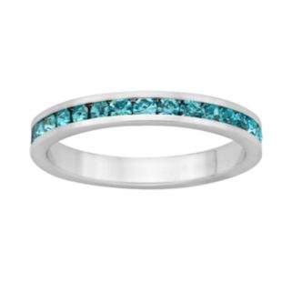 Sterling Silver Aqua Crystal Eternity Ring